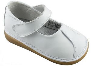 Leather Clip Mary Jane Girl Shoe White